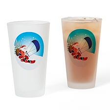 Santa Snowkite Snowboard Drinking Glass