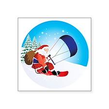 "Santa Snowkite Snowboard Square Sticker 3"" x 3"""
