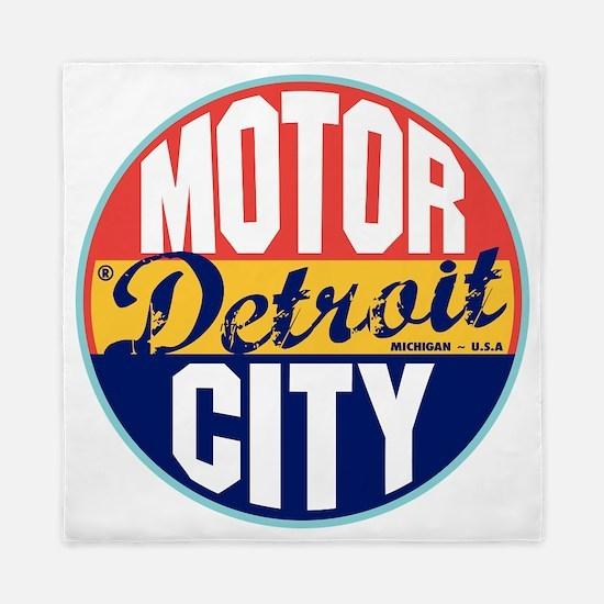 Detroit Vintage Label W Queen Duvet
