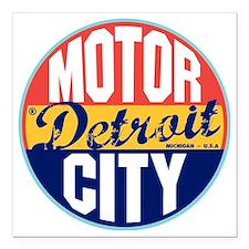 """Detroit Vintage Label W Square Car Magnet 3"""" x 3"""""""