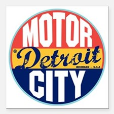 "Detroit Vintage Label W Square Car Magnet 3"" x 3"""