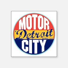 """Detroit Vintage Label W Square Sticker 3"""" x 3"""""""