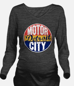 Detroit Vintage Labe Long Sleeve Maternity T-Shirt