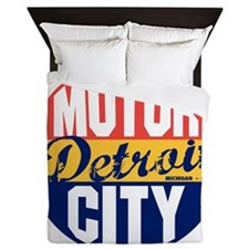Detroit Vintage Label B Queen Duvet
