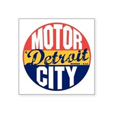 """Detroit Vintage Label B Square Sticker 3"""" x 3"""""""
