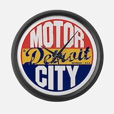 Detroit Vintage Label B Large Wall Clock