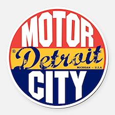 Detroit Vintage Label B Round Car Magnet