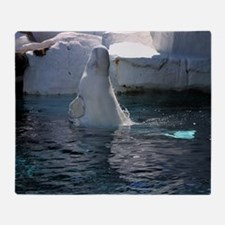 Beluga Whale jumping Throw Blanket