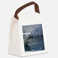 Beluga Whale jumping 2 Canvas Lunch Bag