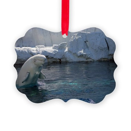 Beluga Whale jumping 2 Picture Ornament