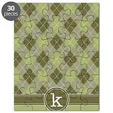 ipad_argyle_monogram_green_k Puzzle