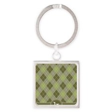 ipad_argyle_monogram_green_k Square Keychain