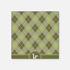 "ipad_argyle_monogram_green_ Square Sticker 3"" x 3"""