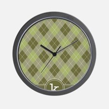 ipad_argyle_monogram_green_k Wall Clock