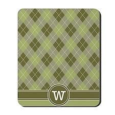 ipad_argyle_monogram_green_w Mousepad