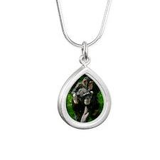 Chimp-2 Silver Teardrop Necklace