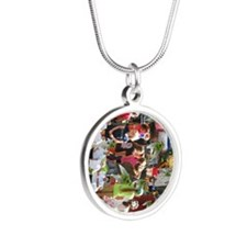 print_collage_wildlife_fest_ Silver Round Necklace