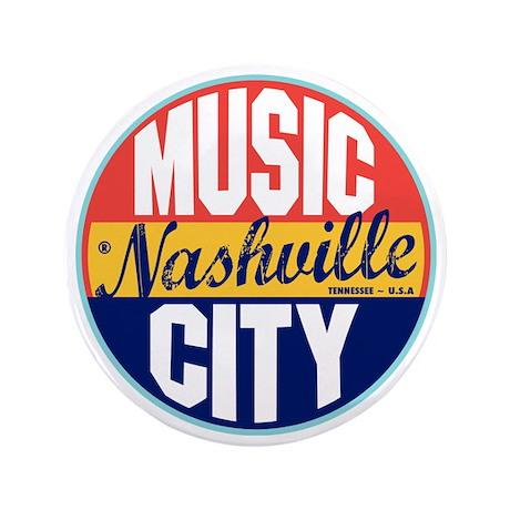 """Nashville Vintage Label W 3.5"""" Button"""