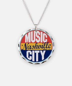 Nashville Vintage Label W Necklace Circle Charm