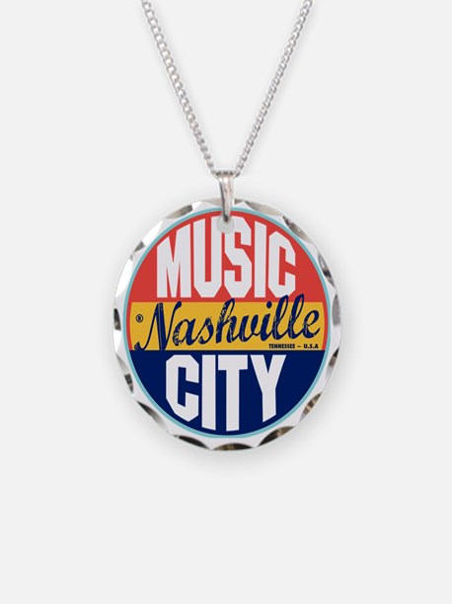Nashville Vintage Label W Necklace Circle Charm