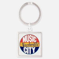 Nashville Vintage Label W Square Keychain