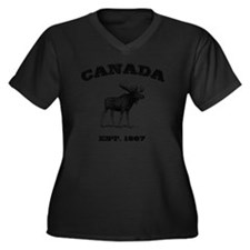 Canada-Moose Women's Plus Size Dark V-Neck T-Shirt