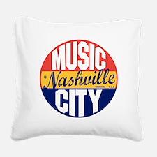 Nashville Vintage Label B Square Canvas Pillow