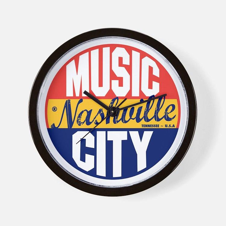 Nashville Vintage Label B Wall Clock