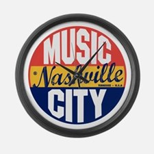 Nashville Vintage Label B Large Wall Clock