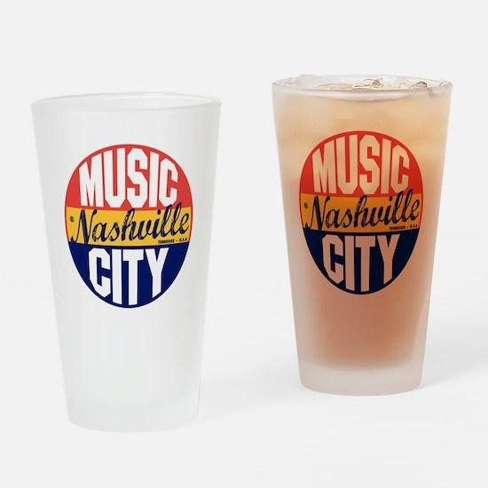 Nashville Vintage Label B Drinking Glass