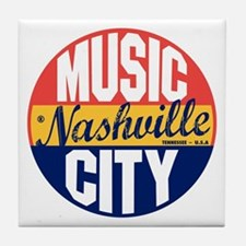 Nashville Vintage Label B Tile Coaster