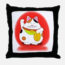 Good Luck Maneki Neko Throw Pillow