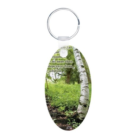 rg-path-steps-journal Aluminum Oval Keychain