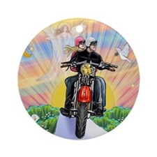 TILE-GuardianBlessing-Motorcycle Round Ornament