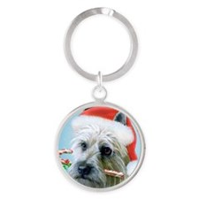 Cairn Terrier- Christmas pillow Round Keychain