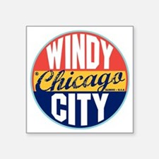 "Chicago Vintage Label W Square Sticker 3"" x 3"""