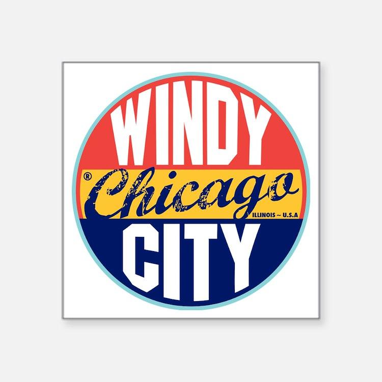 """Chicago Vintage Label W Square Sticker 3"""" x 3"""""""