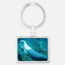 Mother Beluga Whale swimming wh Landscape Keychain
