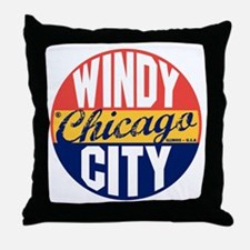 Chicago Vintage Label B Throw Pillow