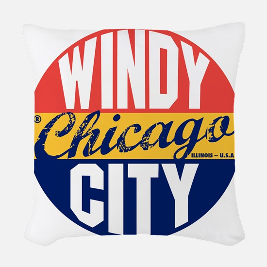 Chicago Vintage Label B Woven Throw Pillow