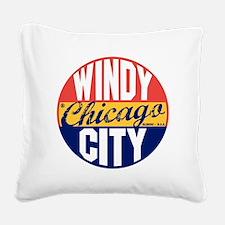 Chicago Vintage Label B Square Canvas Pillow