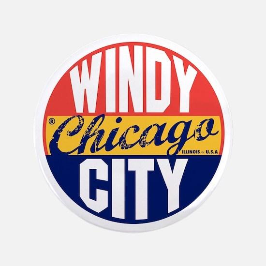 "Chicago Vintage Label B 3.5"" Button"