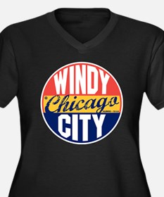 Chicago Vint Women's Plus Size Dark V-Neck T-Shirt