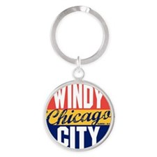 Chicago Vintage Label B Round Keychain
