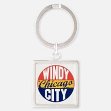 Chicago Vintage Label B Square Keychain