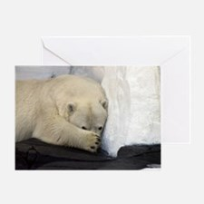 Polar Bear peeking out from behind h Greeting Card