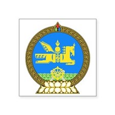 "Mongolia Coat of Arms Square Sticker 3"" x 3"""