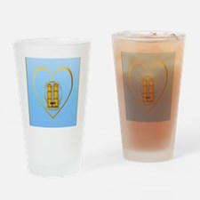 Heart Jewel Gold Twin Towers-letter Drinking Glass