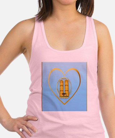 Heart Jewel Gold Twin Towers-le Racerback Tank Top