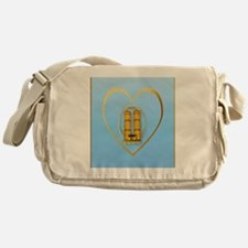 Heart Jewel Gold Twin Towers-lettere Messenger Bag